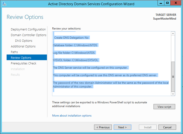 Step by step installation of Active Directory Domain