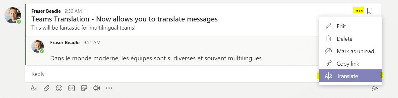 translation of teams messages