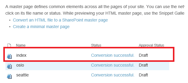 Convert to master page