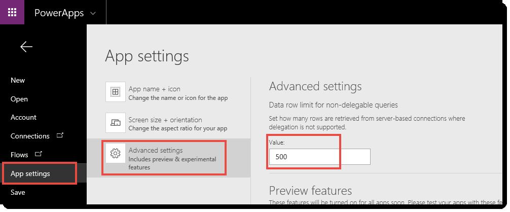 App Advanced Settings