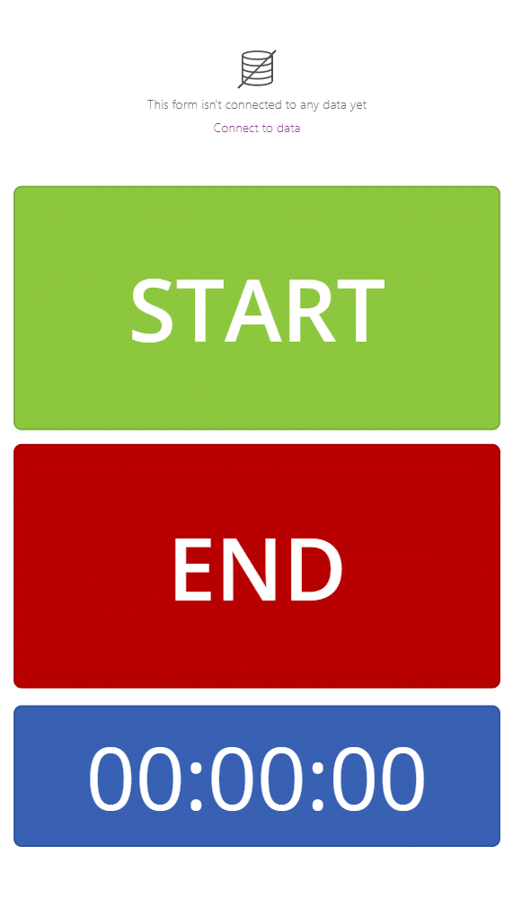 power app with button form and timer