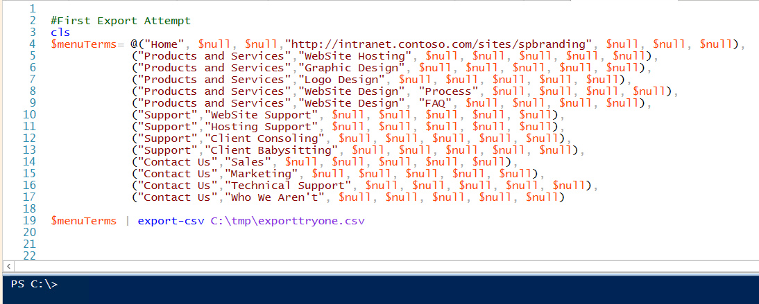 PowerShell from an Array to Comma Separated file (CSV) via the