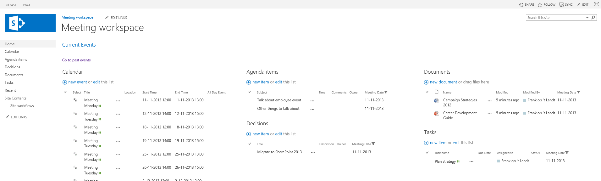 How to build an alternative to meeting workspaces in for Sharepoint 2013 meeting workspace template