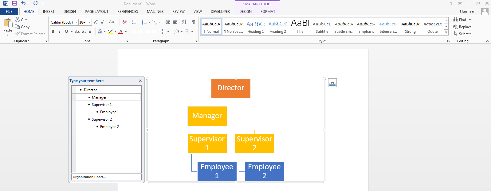 Create a simple Org Chart in Microsoft Word and display in ...