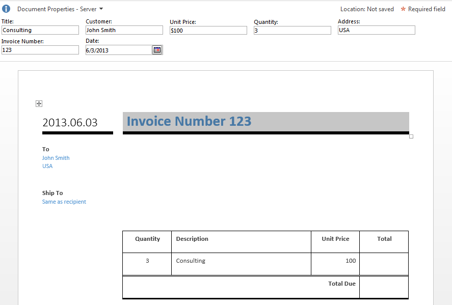 Receipt For Check Simple Sharepoint Invoicing Part   Collab Community Free Template For Invoices Excel with Factoring Invoice Excel Go Back To Invoice Library And Create New Invoice Document Now You Should  See Document Properties Panel If You Enter Value Here You Will Be Able To  Fill  Free Blank Invoices Printable Pdf