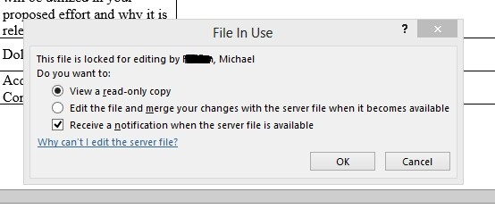 excel file locked for editing by another user sharepoint