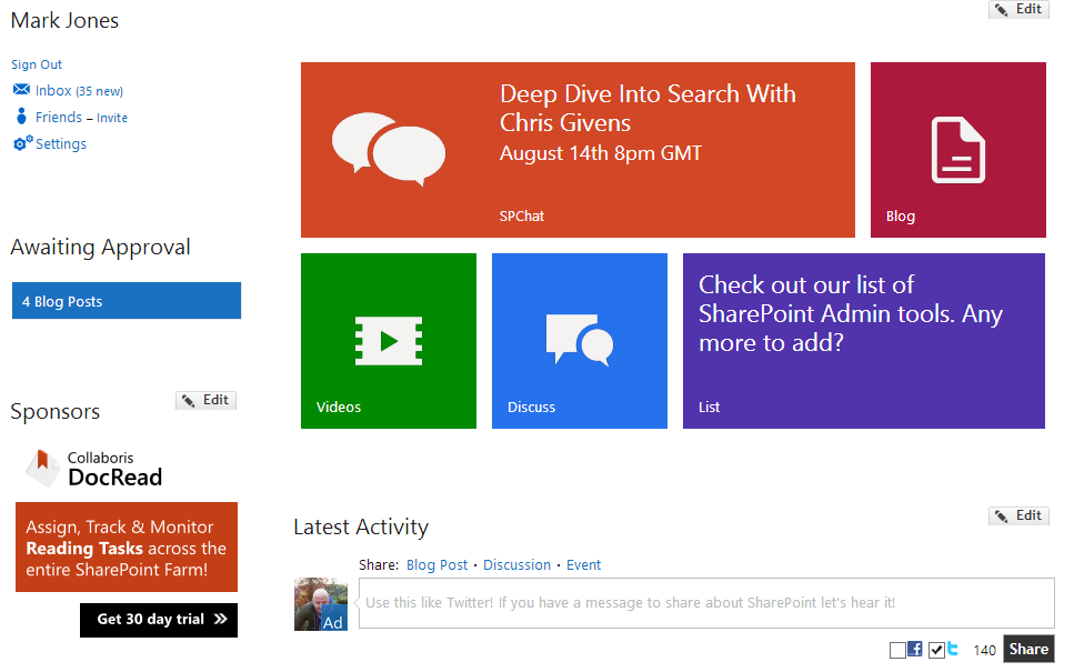 Metro Tiles hit the SharePoint Community home page! - Collab365 ...