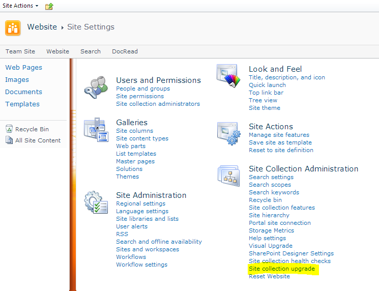 When can will you be able to upgrade Office 365 Site Collections